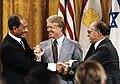 Sadat and Begin and their delegations at Camp David, September 17, 1978 (10729663704).jpg