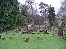 Photo of a cemetery and a ruined stone church