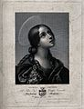 Saint Cecilia. Line engraving V. Biondi after C. Dolci Wellcome V0031850.jpg