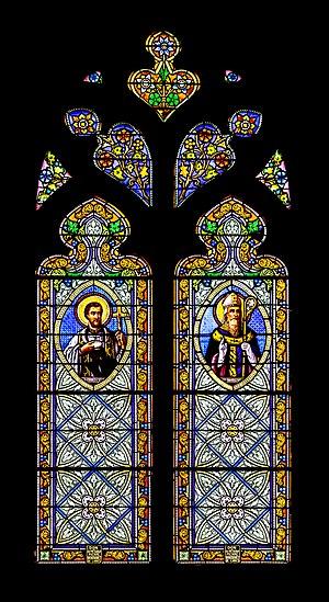 Stained-glass window of the Saint Julian church in Cassagnes-Bégonhès, Aveyron, France