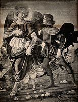 Saint Raphael the Archangel and Tobias. Photo tint by J. Ack Wellcome V0032936.jpg