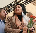 Salome Zurabishvili holding tulips (symbol of the April 9 tragedy of 1989) and David Usupashvili . April 9, Day 1. 2009.jpg