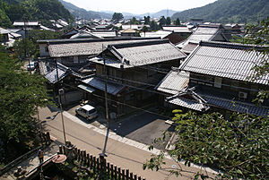 Samegai-juku - A view of Samegai-juku from Kamo Shrine (加茂神社 Kamo Jinja).