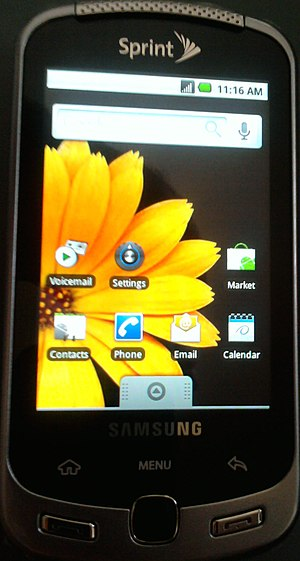 Picture of Samsung Moment cell phone with scre...
