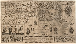 Canadian art - Map of New France made by Samuel de Champlain in 1612.