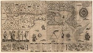 Kaart van Nieuw Frankrijk gemaakt door Samuel de Champlain rond 1612
