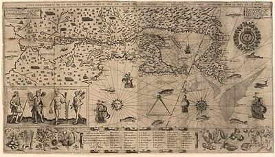 Χάρτης της Νέας Γαλλίας σχεδιασμένος από τον Σαμουέλ ντε Σαμπλαίν (1612).