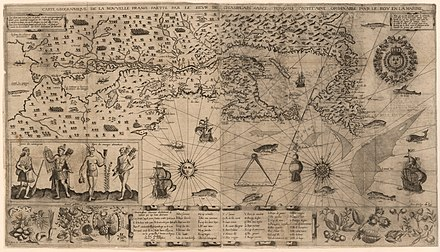 Map of New France (Champlain, 1612). A more precise map was drawn by Champlain in 1632.