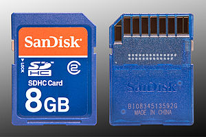 English: Image of the front and back of an 8GB...