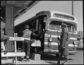 San Bruno, California. A Greyhound bus bringing evacuees to the assembly center. - NARA - 537491.tif