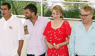 Emily Watson - Watson with Adam Sandler, Paul Thomas Anderson and Philip Seymour Hoffman at the 2002 Cannes Film Festival promoting  Punch-Drunk Love