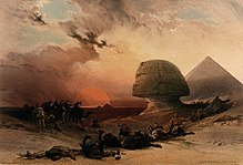 Sandstorm approaching the sphinx at Gîza at sunset, Egypt. C Wellcome V0049386.jpg