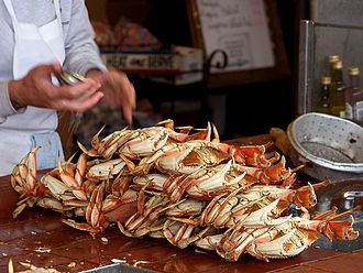 Cuisine of California - Dungeness crab ready to eat at Fisherman's Wharf in San Francisco