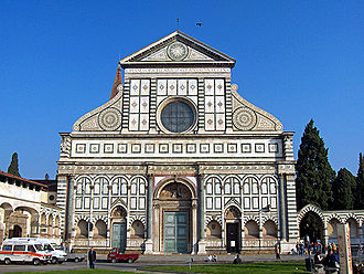Santa Maria Novella - The façade of Santa Maria Novella, completed by Leon Battista Alberti in 1470.