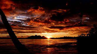 São Gabriel da Cachoeira - Sunset on the Hill of Six Lakes in the background in São Gabriel da Cachoeira, North of Amazonas State, Brazil.
