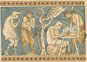 The Satyr and the Traveller - The Satyr and the Traveller, illustrated by Walter Crane, 1887