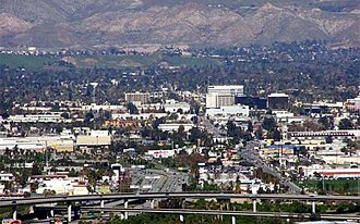 San Bernardino, California - San Bernardino with downtown in the background and the I-215 freeway in the foreground.