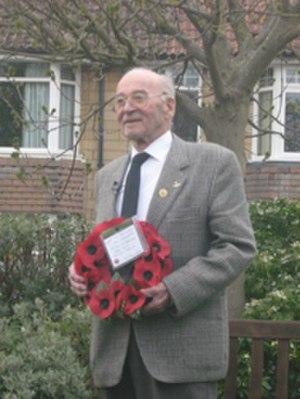 Bath Blitz - Willi Schludecker at the 25 April 2008 memorial service in Bath, with his remembrance wreath.