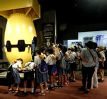 Schoolchildren examine replica of 'Fatman' atomic bomb at the Nagasaki Atomic Bomb Museum, Nagasaki, Japan.tif