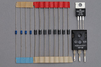 Schottky diode - Various Schottky-barrier diodes: Small-signal RF devices (left), medium- and high-power Schottky rectifying diodes (middle and right)