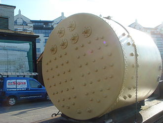 Scotch marine boiler - Rear face of the boiler of steam tug ''Mayflower'', showing the stays supporting the combustion chambers
