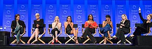 Scream Queens (2015 TV series) - Image: Scream Queens Cast at 2016 Paleyfest