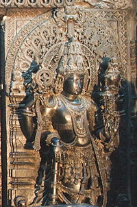 Sculpture of Vijaya, guardian to the entrance of the sanctum of Vishnu in Chennakeshava temple at Belur.jpg