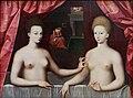 Scuola di fontainebleau, presunti ritratti di gabrielle d'estrées sua sorella la duchessa di villars, 1594 ca. 06.jpg