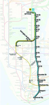 Proposed map of the Manhattan portions of the Q and T trains upon completion of Phase 4. The T is planned to eventually serve the full line between 125th Street and Hanover Square, and the Q will serve the line between 72nd Street and 125th Street.