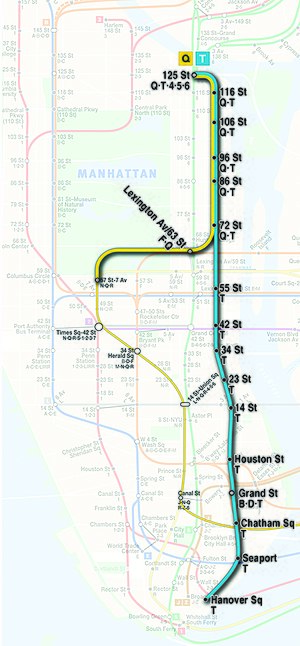 Second Avenue Subway - Proposed map of the Manhattan portions of the Q and T trains upon completion of Phase 4. The T is planned to eventually serve the full line between 125th Street and Hanover Square, and the Q will serve the line between 72nd Street and 125th Street.