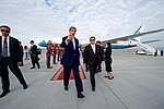 Secretary Kerry Points to His Waiting Vehicle as he Walks With Mongolian State Secretary Gankhuyag (27393206611).jpg