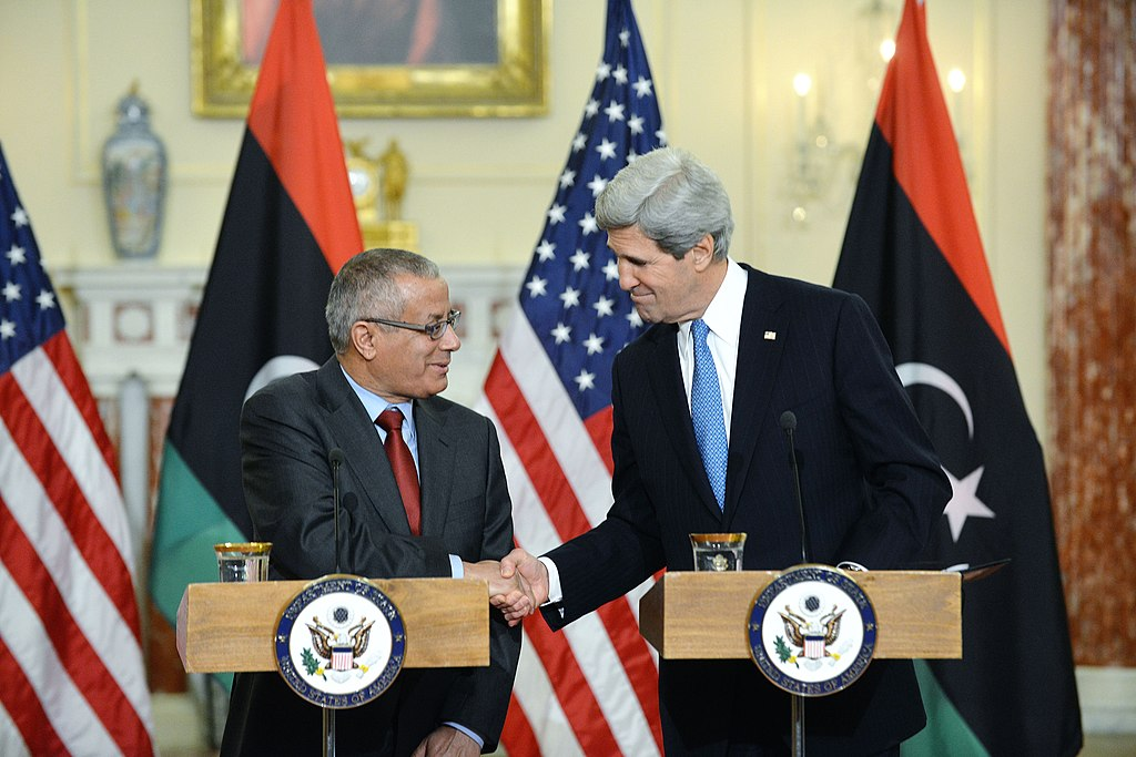 Secretary Kerry Shakes Hands With Libyan Prime Minister Zeidan (Wikimedia Commons)