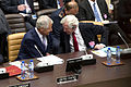 Secretary of Defense Chuck Hagel, left, speaks with Secretary General of the European External Action Service Pierre Vimont during a meeting with non-NATO ISAF contributing nations at NATO headquarters in Bruss 130605-D-BW835-193.jpg