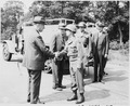 Secretary of War Henry Stimson shakes hands with Brig. Gen. John H. Collier after inspecting Berlin, Germany during... - NARA - 198895.tif
