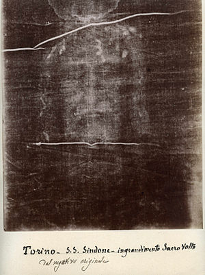 Shroud of Turin - Secondo Pia's 1898 negative of the image on the Shroud of Turin has an appearance suggesting a positive image. It is used as part of the devotion to the Holy Face of Jesus. Image from Musée de l'Élysée, Lausanne.