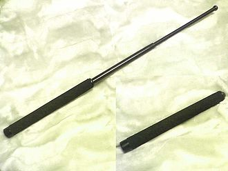 Self-defense - This telescopic steel security baton is sold to the public in Japan (2009).
