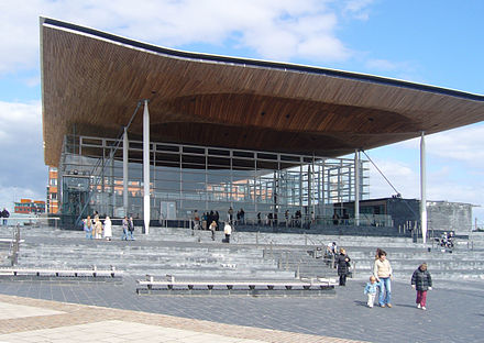 The Senedd (National Assembly building), designed by Richard Rogers, opened on St David's Day (1 March) 2006. Senedd.JPG