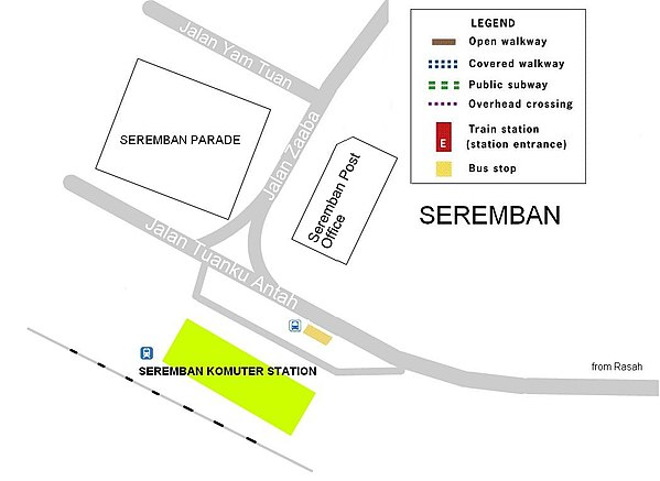 Location map of Seremban railway station