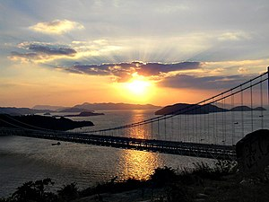 Seto Inland Sea - 2004 Sunset over the Seto Inland Sea. The bridge on the foreground is the Great Seto Bridge in Kurashiki, Okayama Prefecture.