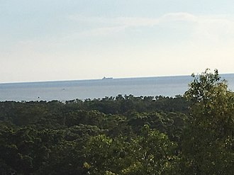Strait of Malacca - A ship sailing on the Strait of Malacca, as seen from Bukit Melawati in Kuala Selangor
