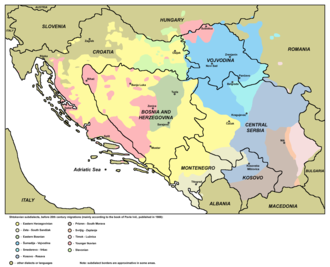 Dialects of Serbo-Croatian - Shtokavian subdialects (Pavle Ivić, 1988). Yellow is the widespread Eastern Herzegovinian subdialect that forms the basis of all national standards, though it is not spoken natively in any of the capital cities.