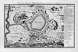 Siege of Montpellier - Military map of the Siege of Montpellier, 1622.