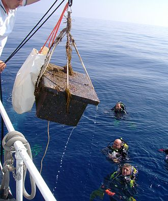 Graham Island (Mediterranean Sea) - A seismograph, placed on the underwater island in 2006, is recovered in 2007