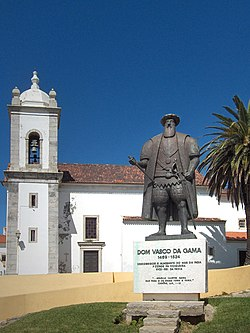 A monument to Vasco da Gama who was christened in the parish church of Sines, and whose father was the alcade-mor of the castle