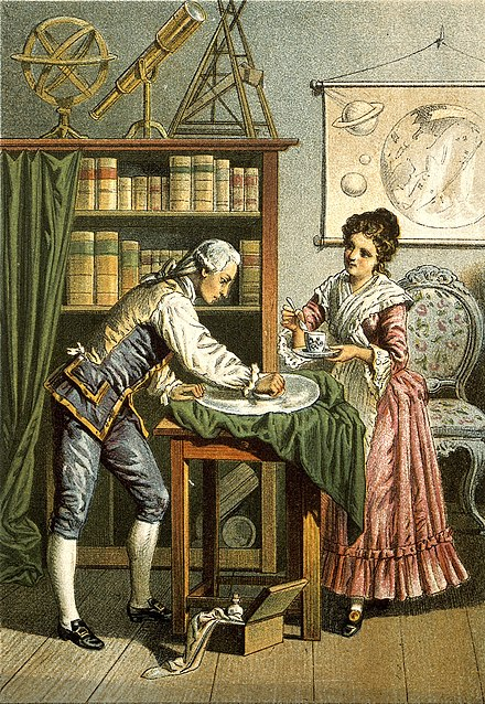 William and Caroline Herschel polishing a telescope lens (probably a mirror); 1896 lithograph Sir William Herschel and Caroline Herschel. Wellcome V0002731 (cropped).jpg