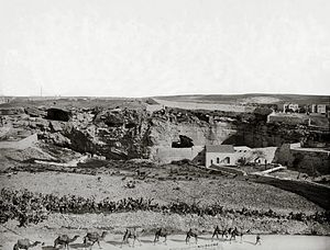 The Garden Tomb - A view of Jeremiah's Grotto and Skull Hill from the south ca. 1900