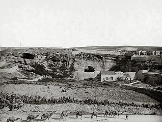The Garden Tomb - A view of Jeremiah's Grotto and Skull Hill from the south c. 1900