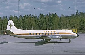 Linjeflyg Flight 618 - A similar Vickers Viscount to the accident aircraft, depicted in 1972