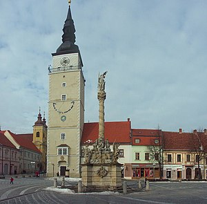 Trnava - Tower in the historical center of Trnava.