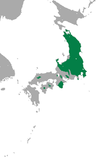 Carte du Japon avec larges zones vertes